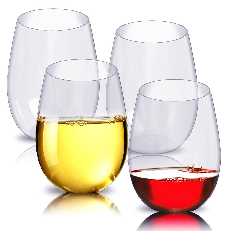 4 adet / takım Kırılmaz Plastik Şarap Cam Kırılmaz PCTG Kırmızı Şarap Tumbler Gözlük Bardaklar Kullanımlık Şeffaf Meyve Suyu Bira Bardağı