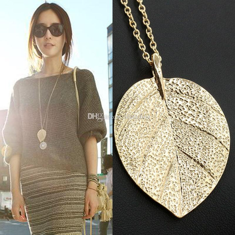 Gold Leaf Leaves Pendant Necklace 2018 Fashion Vintage Punk Clavicle Chain Charm Jewelry for Women C3465