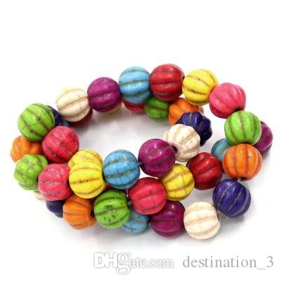 Doreen Box Creato Gem Stone Beads Pumpkin Halloween Mixed Tinto 12x12mm, Foro: 1mm, 39cm lungo, 1 Strand (32PCs) (B23010)
