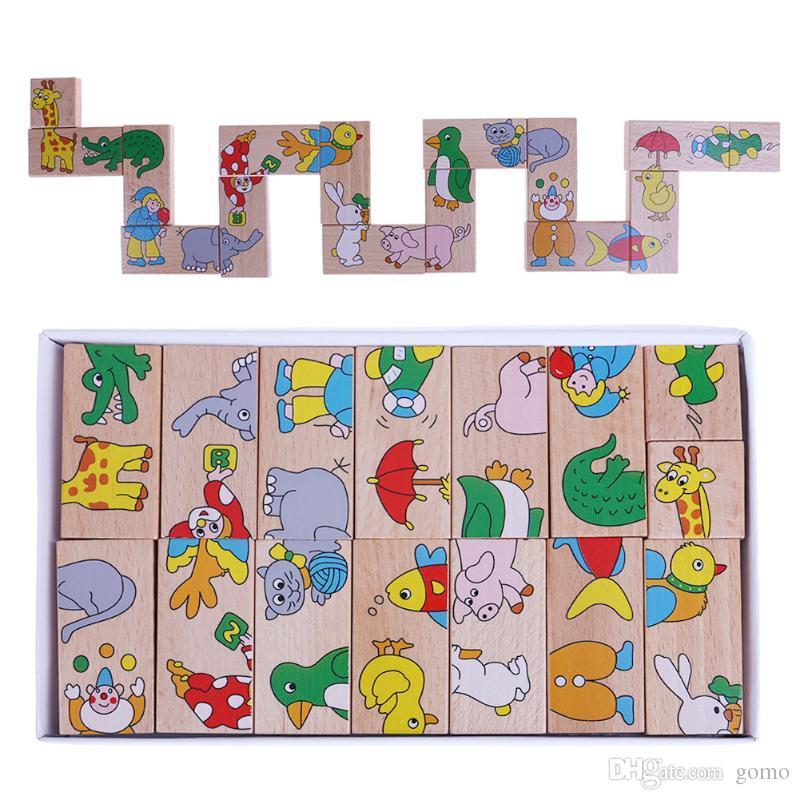 15 pezzi Domino Giocattoli in legno Puzzle Cartone animato Animale Bambino Intelligenza educativa Giocattoli per bambini in legno carino Regalo di compleanno per bambini