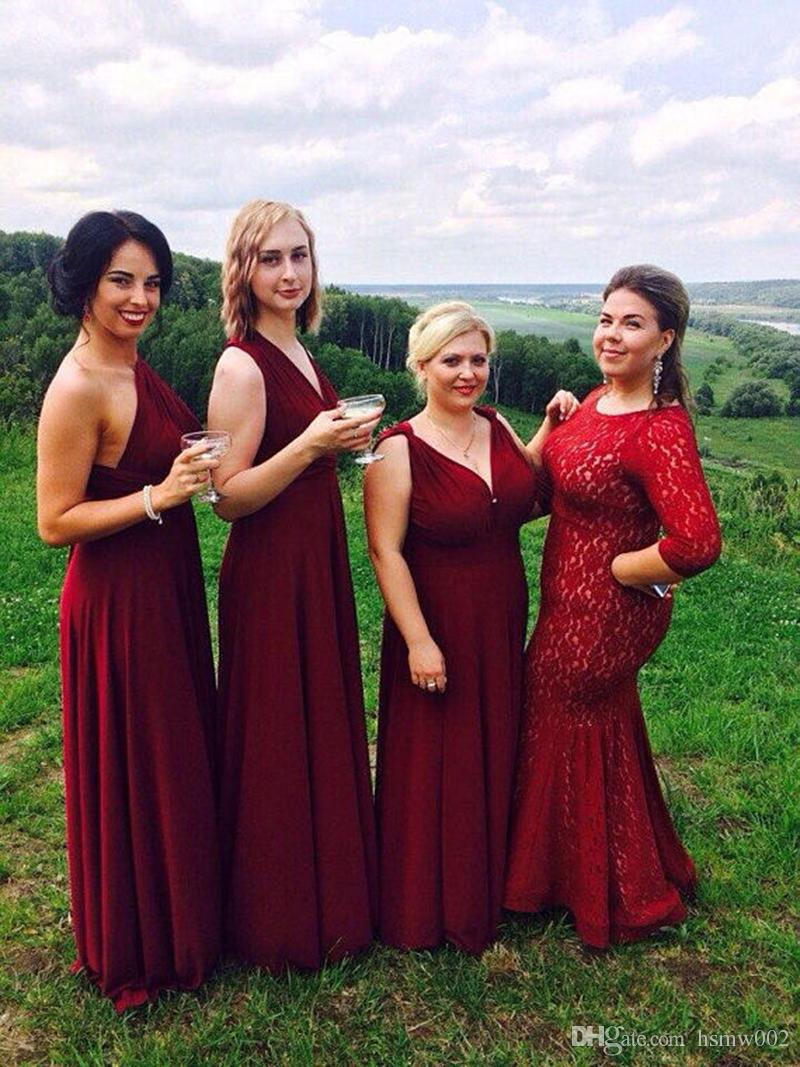 872307ea6e5 Custom Made Burgundy Wine Bridesmaid Dresses Infinity Convertible Dresses  Burgundy Multiway Dress Burgundy Plus Size Bridesmaid Gowns Short Lace ...