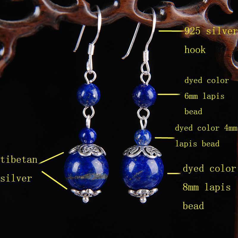 10Pair Lapis Lazuli Earrings Handmade 925 Sterling Silver Hook Tibetan Silver Charms Dyed Color 4mm 6mm 8mm Lapis Stone Beaded Drop Earrings