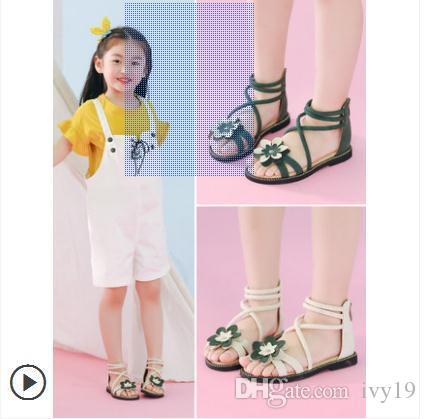 Sandales filles 2018 nouvelle version coréenne de la mode estivale fille filles princesse chaussures enfants sandales femmes fond mou Rome chaussures