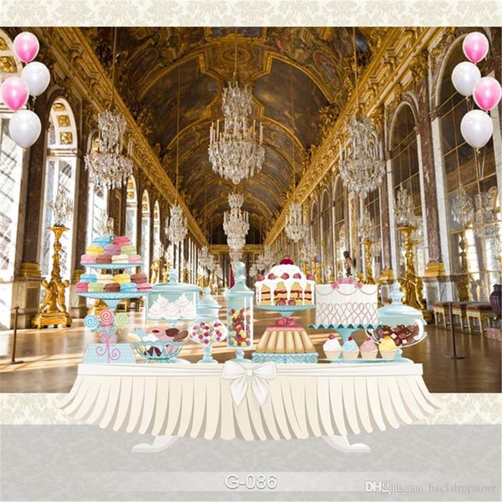 قصر فاخر ثريا كريستال التصوير خلفية الطفل مطبوعة الاطفال الأميرة فتاة عيد ميلاد الحزب زفاف صور بوث الخلفية
