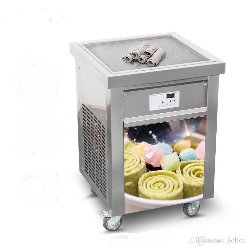 Kolice Free Shipping US EU single square 50*50cm pan THAI INSTANT STIR ROLL ICE CREAM MACHINE FRY ICE CREAM ROLL MACHINE с хладагентом