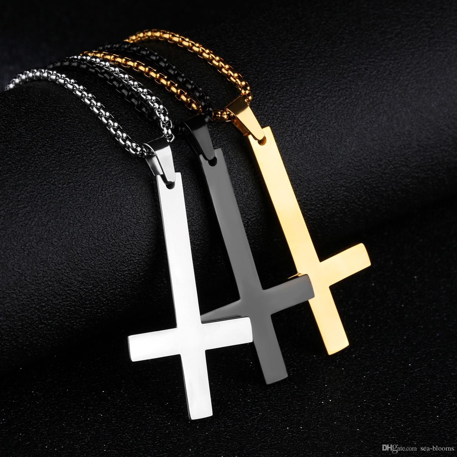 3 Colors Simple Stainless Steel Upside Down Cross Necklace With Chain For Men Inverted Pendant Durable Necklace Unique Jewelry Gift G885F