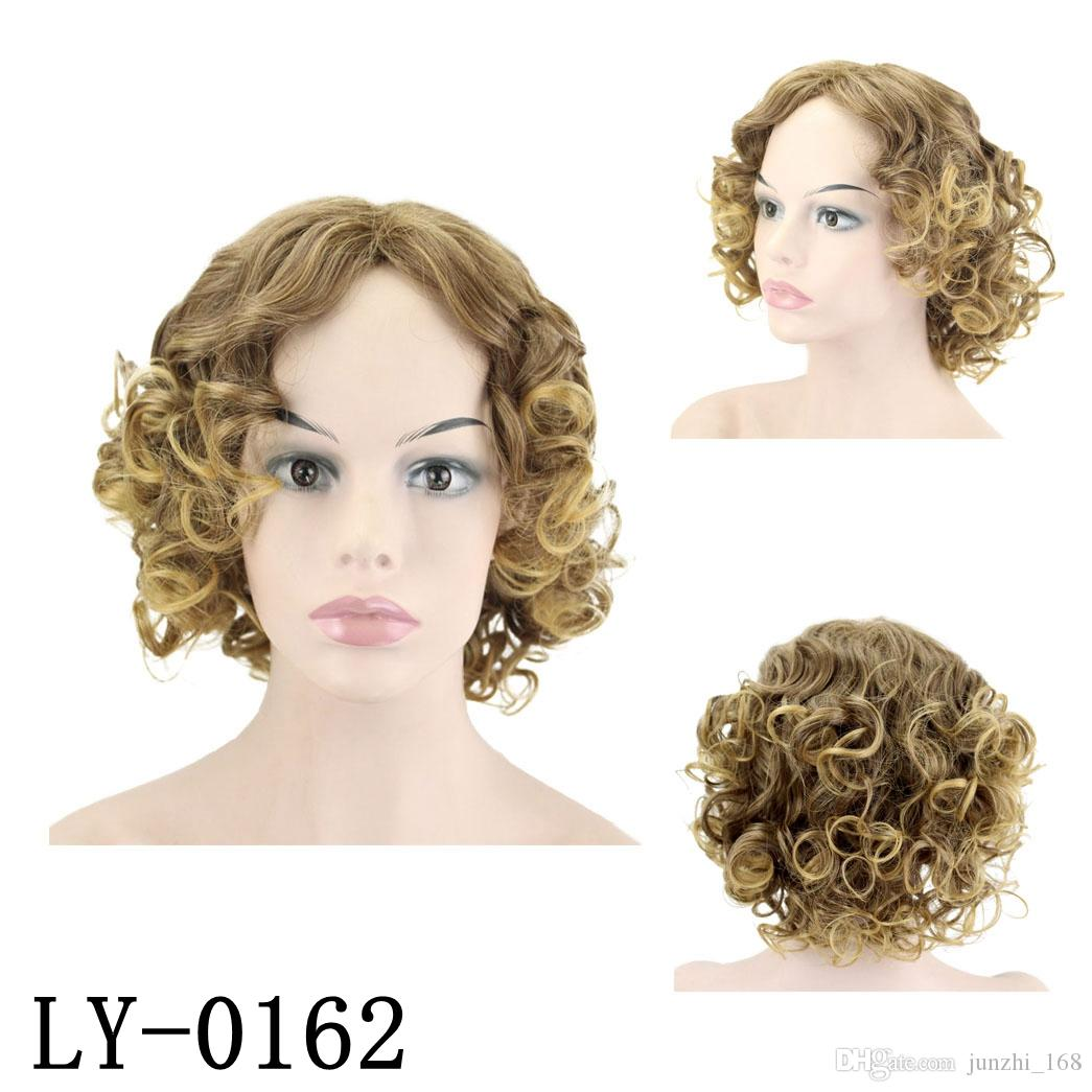 14 inch Brown and Blonde Color Synthetic Hair Short Afro Kinky Curly Wigs for Women Black Hair
