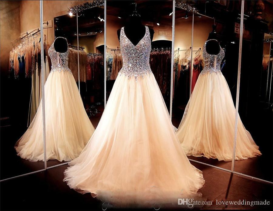 Gorgeous Champagne Crystals V-neck Prom Dress With See Through Pageant Dresses Soft Tulle New Arrival Evening Gown Custom Made