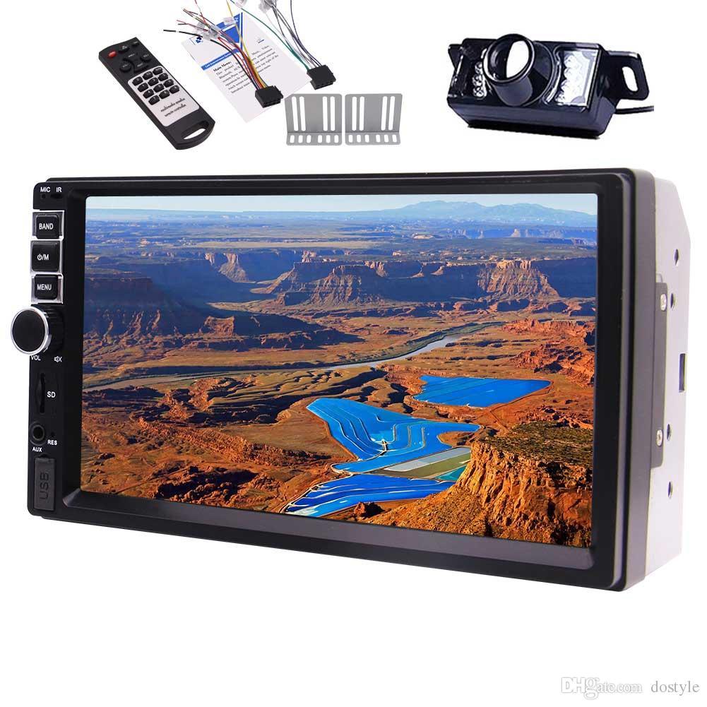 Cámara de visión trasera EinCar Reproductor de audio Doble Din Pantalla táctil capacitiva Bluetooth Radio FM Car Stereo 7 '' Digital LCD Monitor Volante
