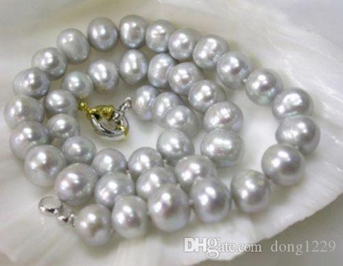 Collar de perlas cultivadas Akoya grises genuinas reales de 8-9 mm 18 pulgadas
