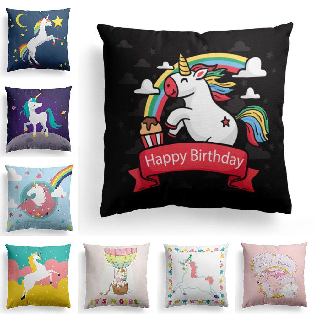 Multicolore Belle Unicorn Motif Taie d'oreiller Maison Literie Décoration Coussin Couverture Drôle Cadeau Livraison Gratuite