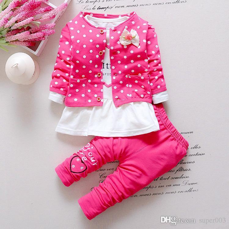 2018 nova onda coreana conjunto de roupas de bebê meninas de algodão bonito roupas terno childern dos desenhos animados 3 pcs terno