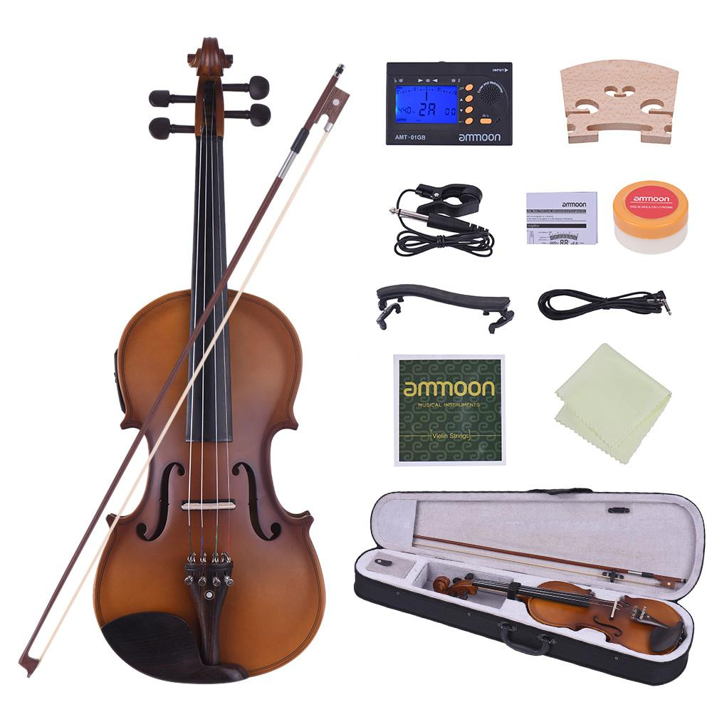 wholesale Full Size 4/4 Acoustic Electric Violin Fiddle Solid Wood Body Ebony Fingerboard Pegs Chin Rest Tailpiece