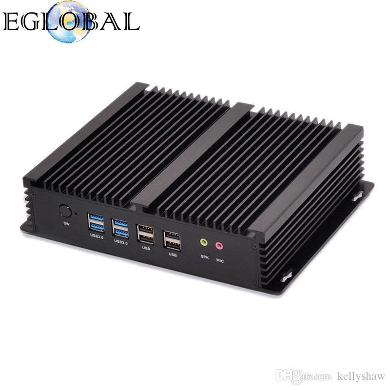 Eglobal 2018 Industrial Fanless Mini PC GK-4200UL with Intel Core i5 4200U Max 2.6GHz 4K 2LAN 2HD Mini Computer