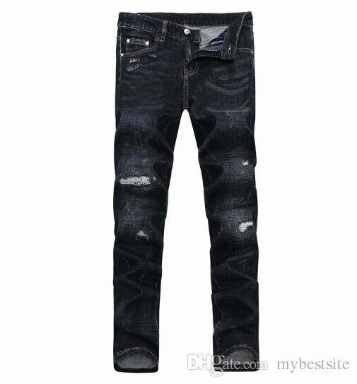 Nova chegada! 2018 Europa e nos Estados Unidos buraco do vento pés dos homens Slim calças de brim de algodão micro-elástico preto