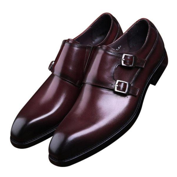 Double boucle Black / Brown Business Shoes Chaussures habillées pour hommes Chaussures de mariage en cuir véritable