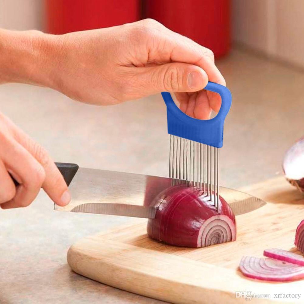 Новый Shrendders Срезы Томатный Лук Овощи Slicer Держатель для резки Aid Руководство нарезка Cutter Safe вилочные инструменты