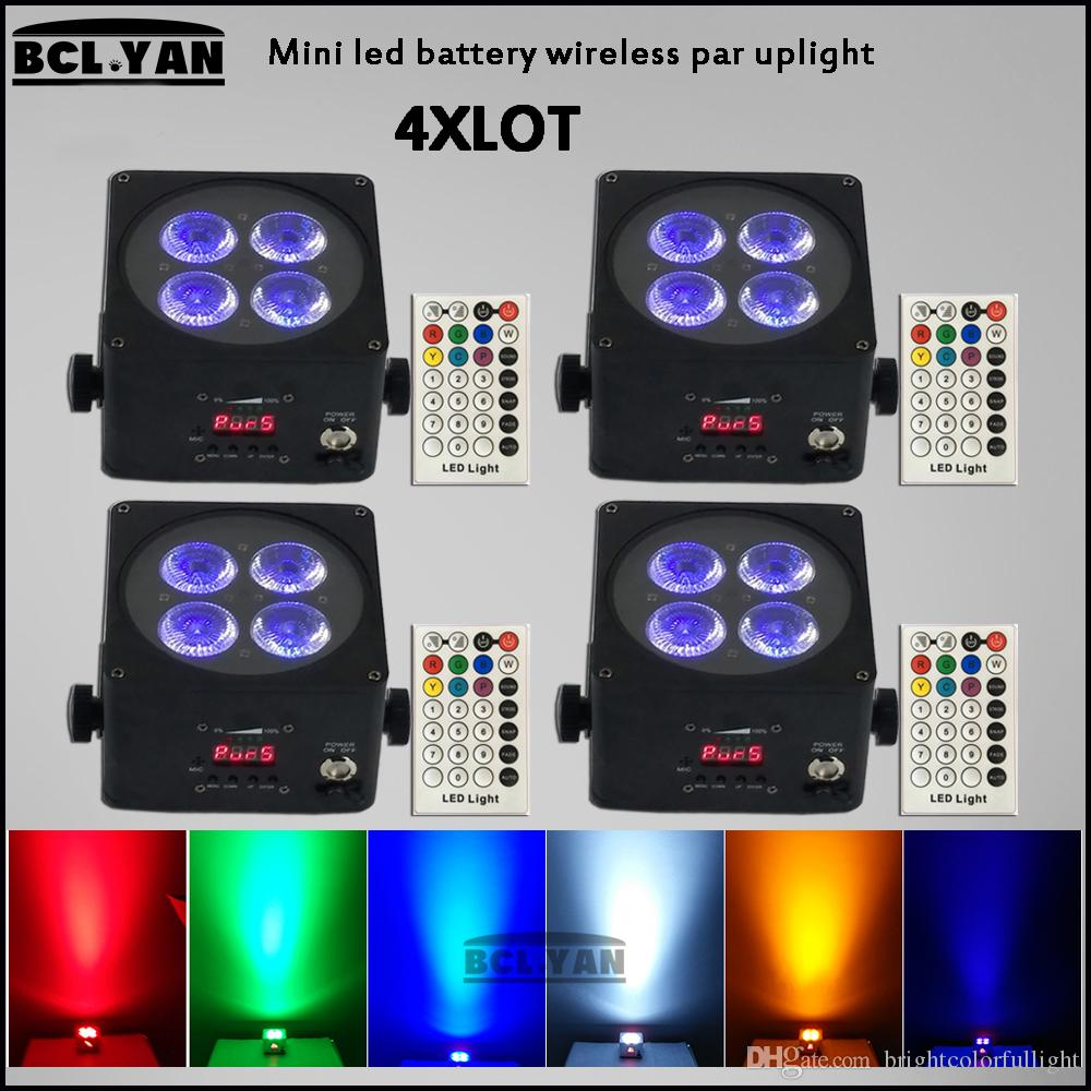 Hot sale 2018 factory price mini battery power wireless dmx led par lights with IR remote 4*18w rgbwap 6 in 1 led bar light