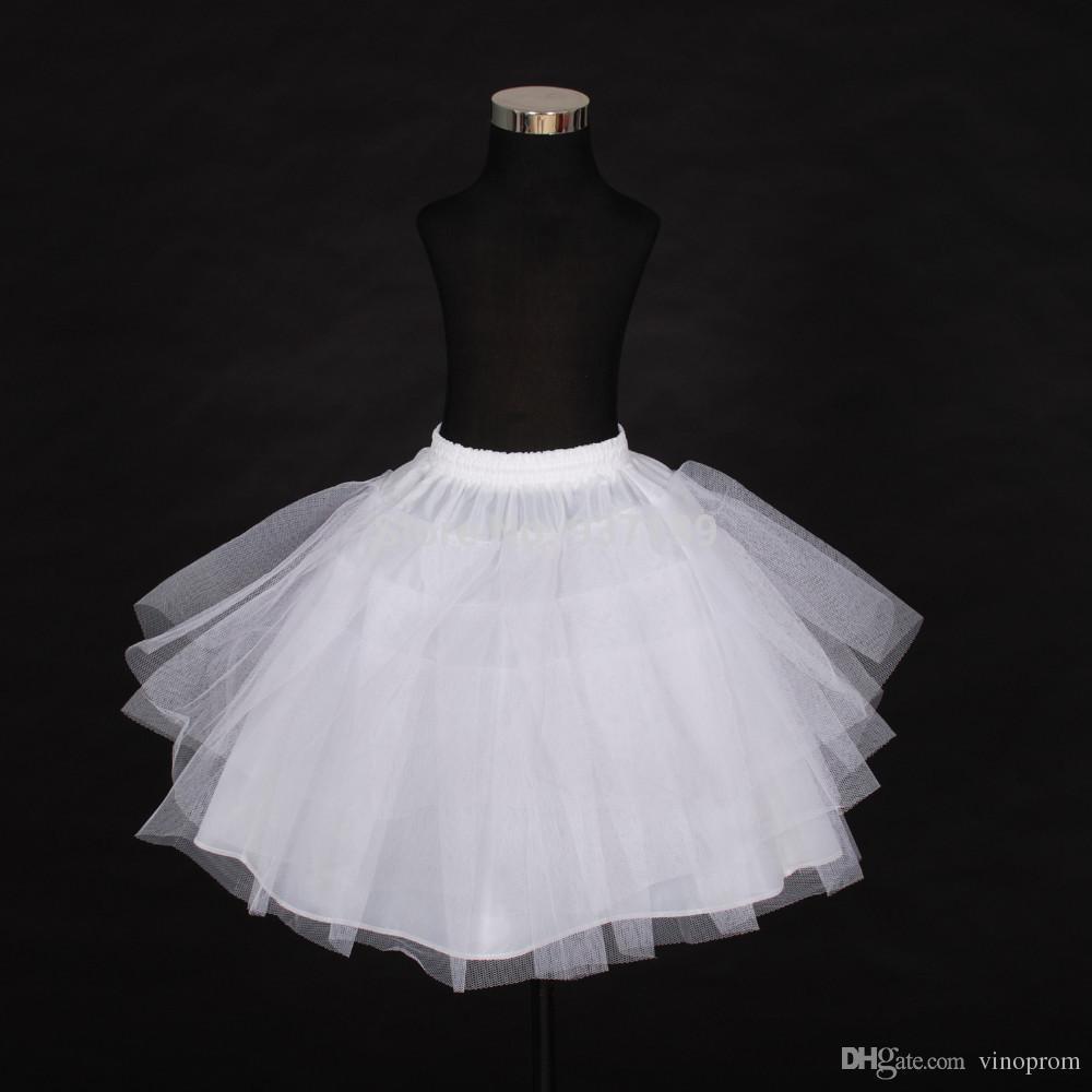 2018 Free Shipping Top Quality Stock Three Layer Net White A-Line Flower Girl Dress Petticoat / Child Crinolines/Underskirt