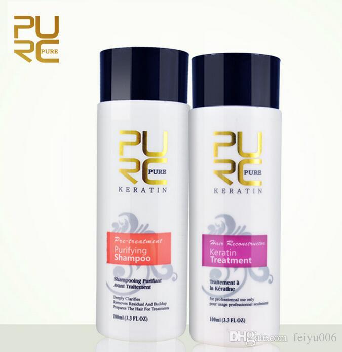 PURC 5%8%12% Formaldehyde Keratin and Purifying Shampoo set 2018 best hair care products hot sale hair straightening treatment