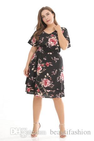 2018 Casual New Women\'S Chiffon V Neck Short Sleeve Floral Print Knee  Length Plus Size Dress Strapless Dresses Chiffon Dress From Beautifashion,  ...