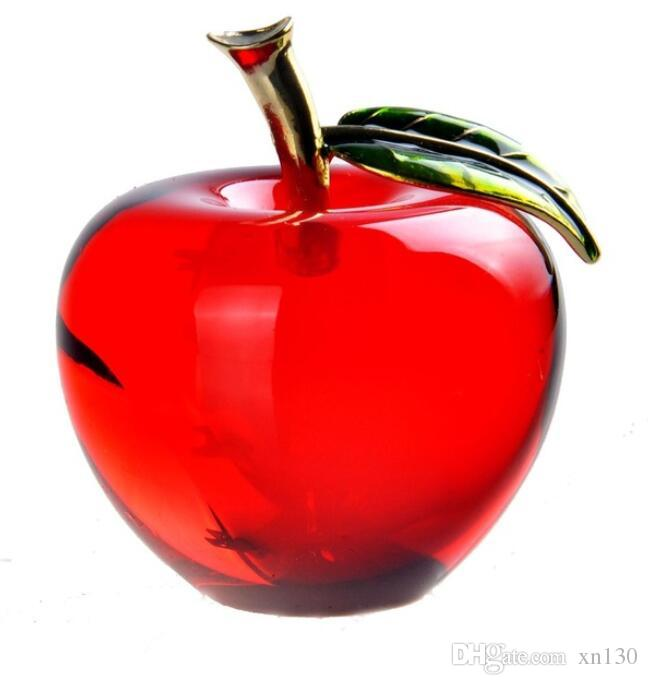 Red Crystal Apple Paperweight Pretty Crafts Art&Collection Christmas Gifts Home Wedding Decoration Table/Car Ornaments
