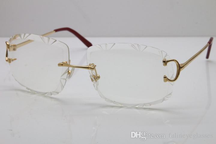 2020 Freies Verschiffen T8200762 Männer Frauen randlose Brille Silber Gold Metallrahmen Brillen Lünetten neue Art und Weise klassische Gläser