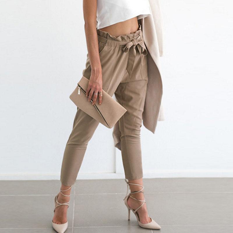 2017 Mujeres Lápiz Pantalones Tobillo Largo Stretchy Vendaje Arco de Cintura Alta Basculador Polainas Loose Casual Lápiz Pantalones Pantalones de Moda