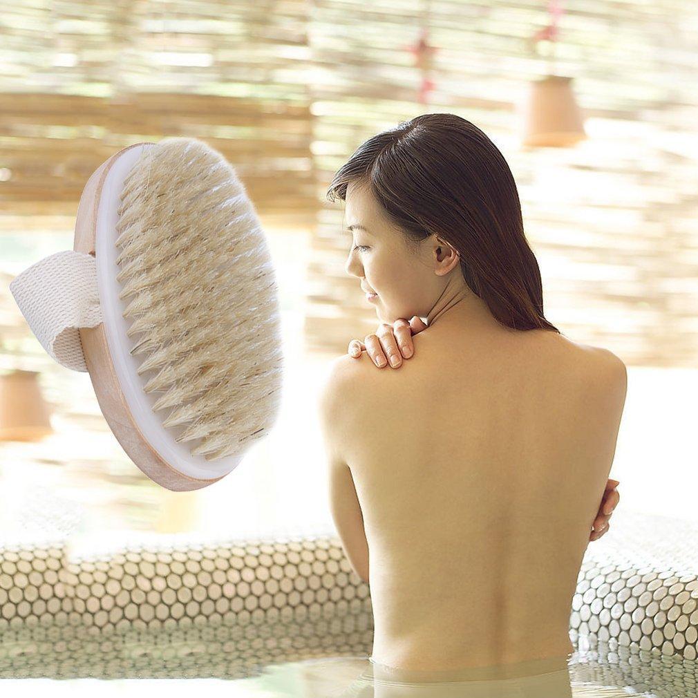 Cepillo natural del cuerpo de la piel seca de la cerda Exfoliar Estimular la circulación de la sangre SPA Depurador de ducha 12 * 6.5cm