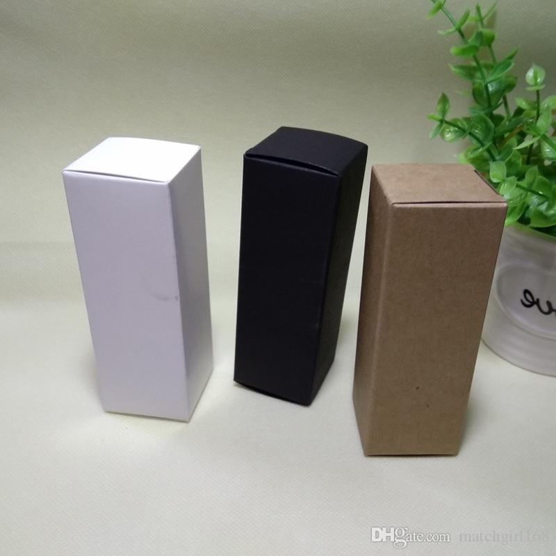 100pcs - 42x42x142mm Kraft Paper Box White Black Cosmetic Packaging Boxes for Facial cream Jewelry Candy Gift Package
