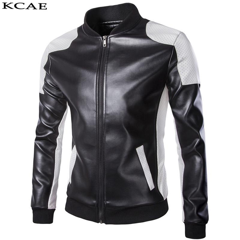 Cuir pour homme Faux en gros - Punk Motor Jacket Moto Black Blanc Vestes Hommes Moto Mince Fit Fit Moker Mâteau Pu Manteau