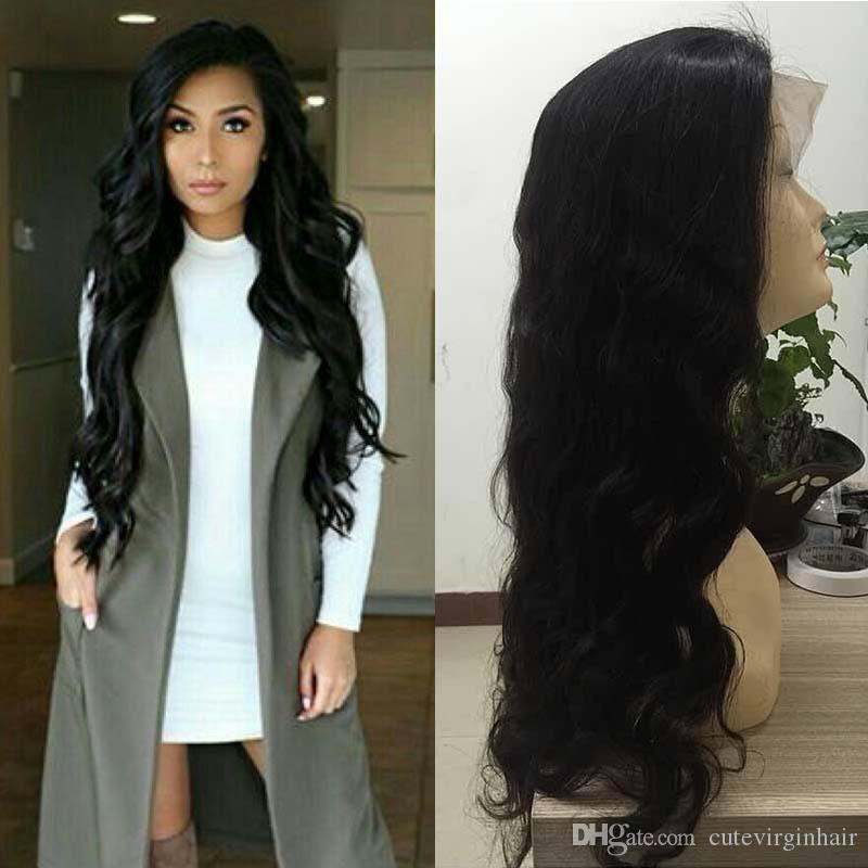 Brazilian Peruvian Malaysian Body Wave Pre Plucked Lace Frontal Wigs with Baby Hair Wet and Wavy Remy Virgin Human Hair Wigs