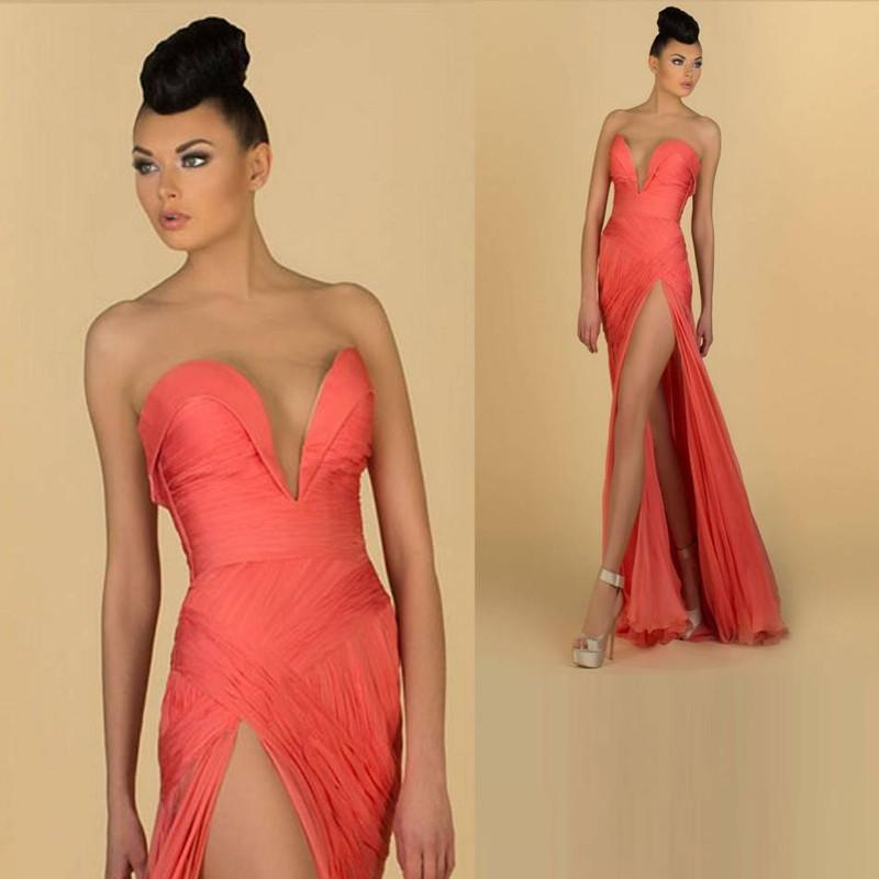 Hot Sale Long Orange Sexy Evening Dresses High Slit V-Neck Chiffon Prom Dresses Party Gown Sheath New Arrival Pleated 2018