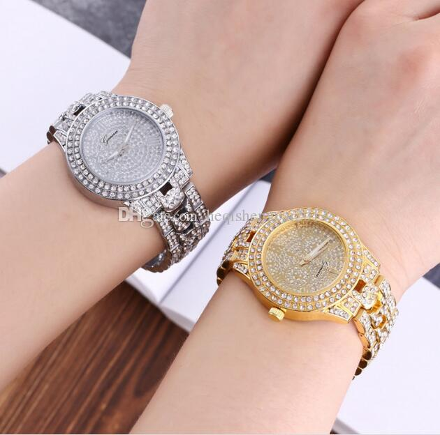 Золото серебристый розовое золото роскошный Кристалл Женева 3 глаза Рим стальной полосы наручные часы высокого класса моды женщина кварцевые наручные часы