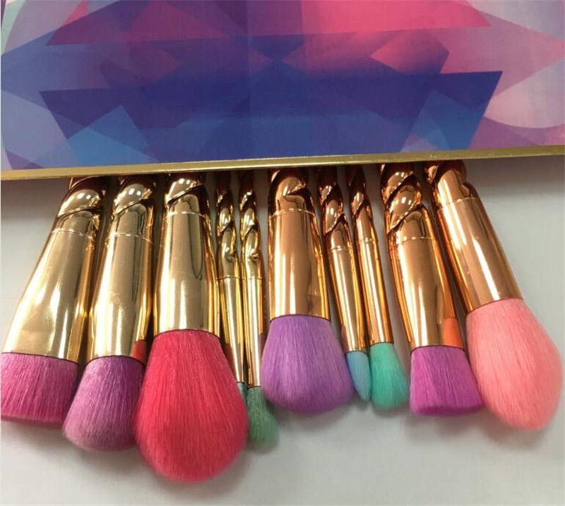 دروبشيبينغ فرش الماكياج مجموعات فرشاة التجميل 5 قطع الألوان الزاهية وارتفع الذهب دوامة عرقوب يشكلون فرشاة أدوات المسمار كونتور مربع التجزئة