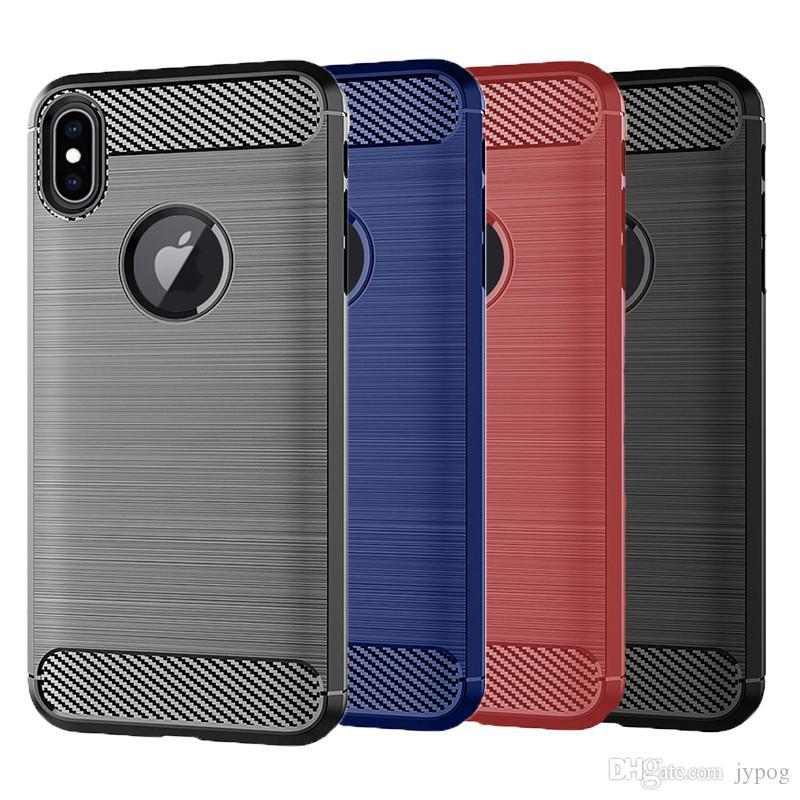 Pour iPhone Xs Max Etui En Fiber De Carbone Texture Couverture Arrière Souple TPU Cas de téléphone pour iPhone Xr Xs Max