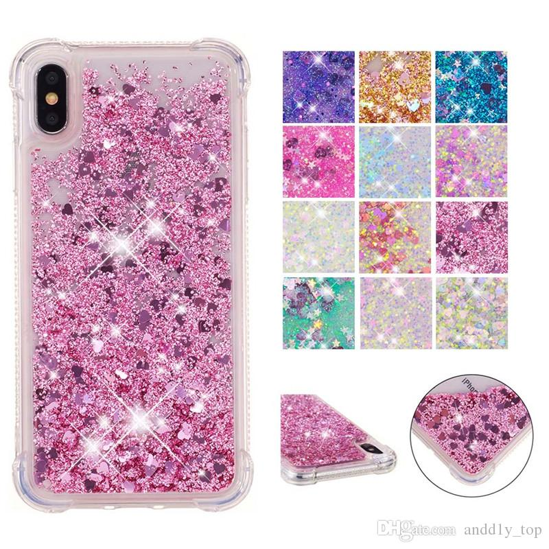 Bling Bling Liquid Glitter Case for iPhone 11 pro max xr 8 Plus Cell Phone Anti-drop Soft Clear TPU Case for iPod Touch7
