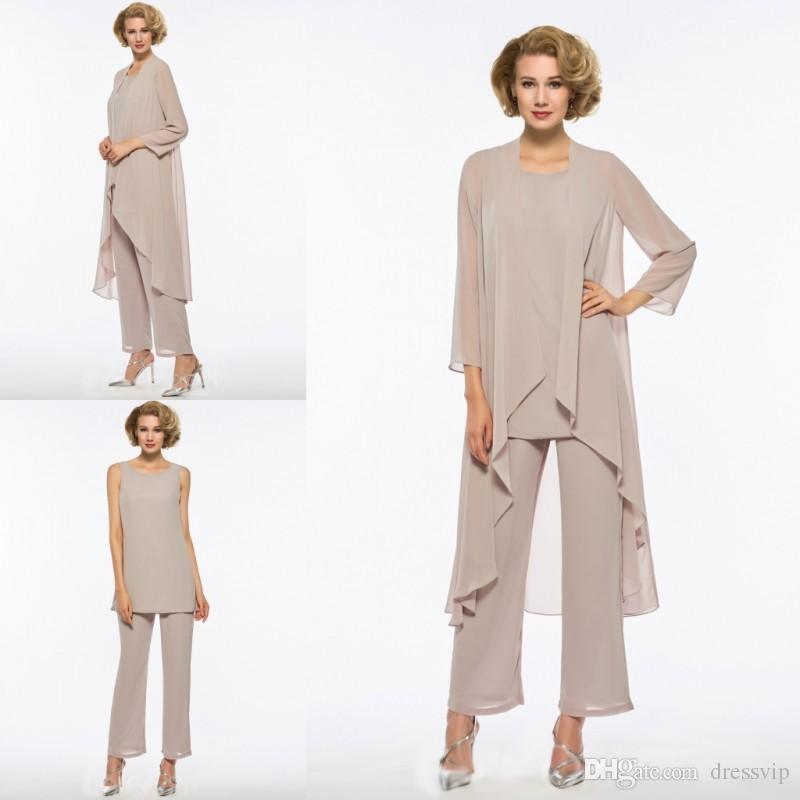 Plus Size Mother Of The Bride Pant Suit 3 Piece Chiffon for Beach Wedding Dress Mother's Dress Long Sleeves Cheap Mothers Formal Gown