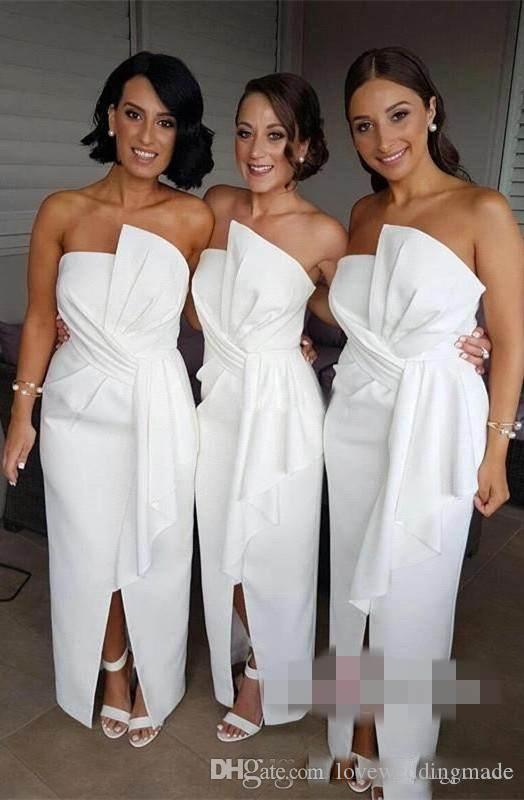 2018 겸손한 신부 들러리 드레스 Strapless Sash Ruffle 섹시한 앞면 스윕 길이 웨딩 게스트 드레스
