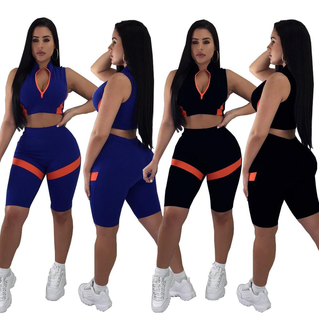 2018 summer women Patchwork Slim crop top knee pants sets fashion elastic waist 2 two pieces sets suits