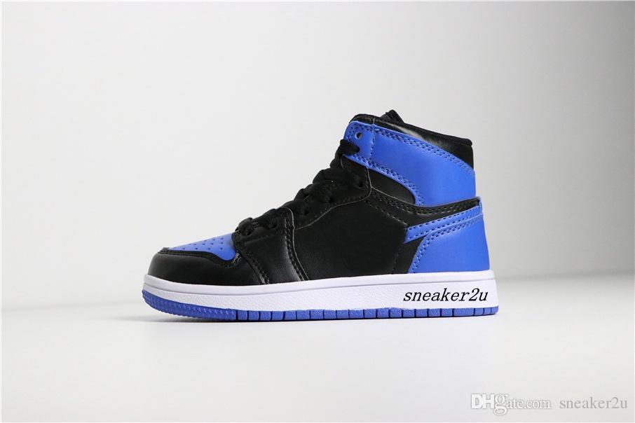 Niños 1 ALTA OG BG (GS) 2017 Zapatos de baloncesto LIBERACIÓN Childrens 1 blanco negro azul tamaño Calzado deportivo estadounidense 11c-3y