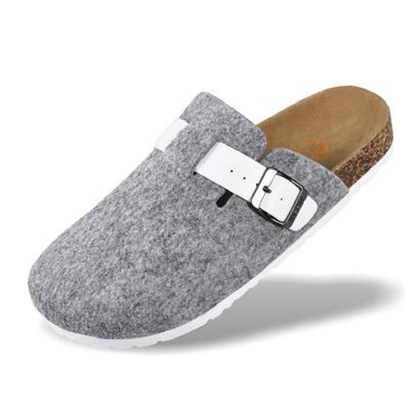 New Women Cork Shoes Casual Sandals Flats Slides female Closed Toe Sandals Buckle Slippers Plus Size 36-44 Gray Black blue