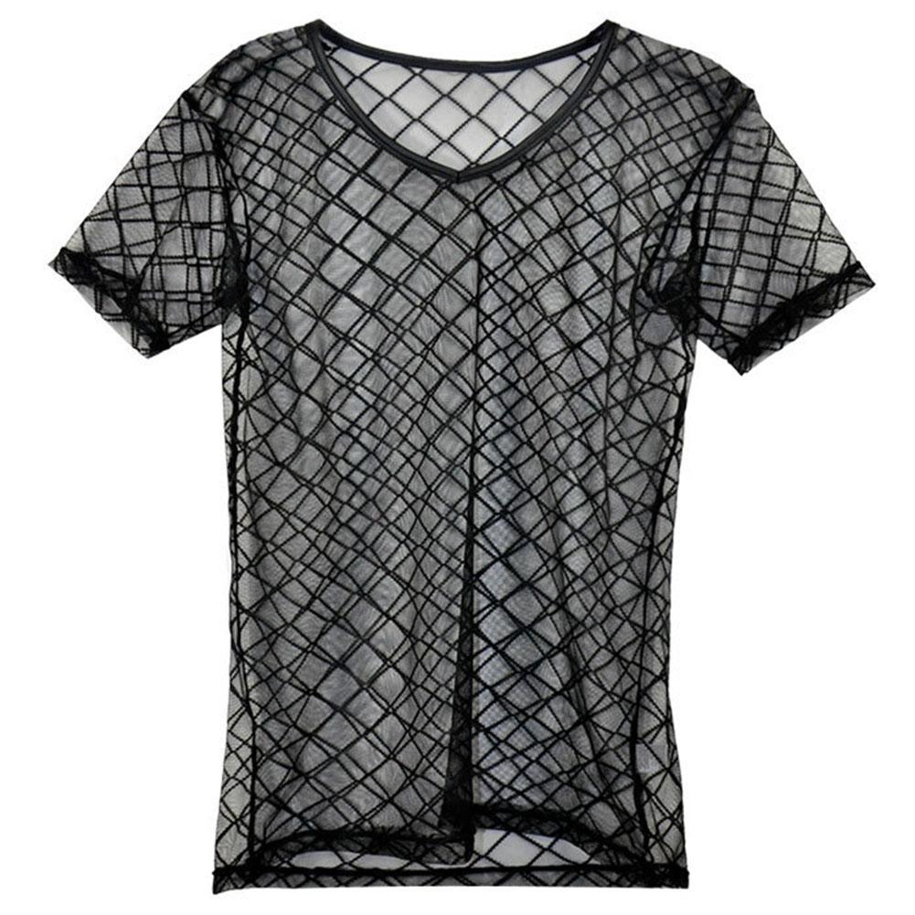 Moda Uomo Sexy T-Shirt Canotta Plaid Trasparente Maglia Scollo a V Magliette Gay Maschile Esotico Maglietta Club Wear Indumenti Da Notte Canotta