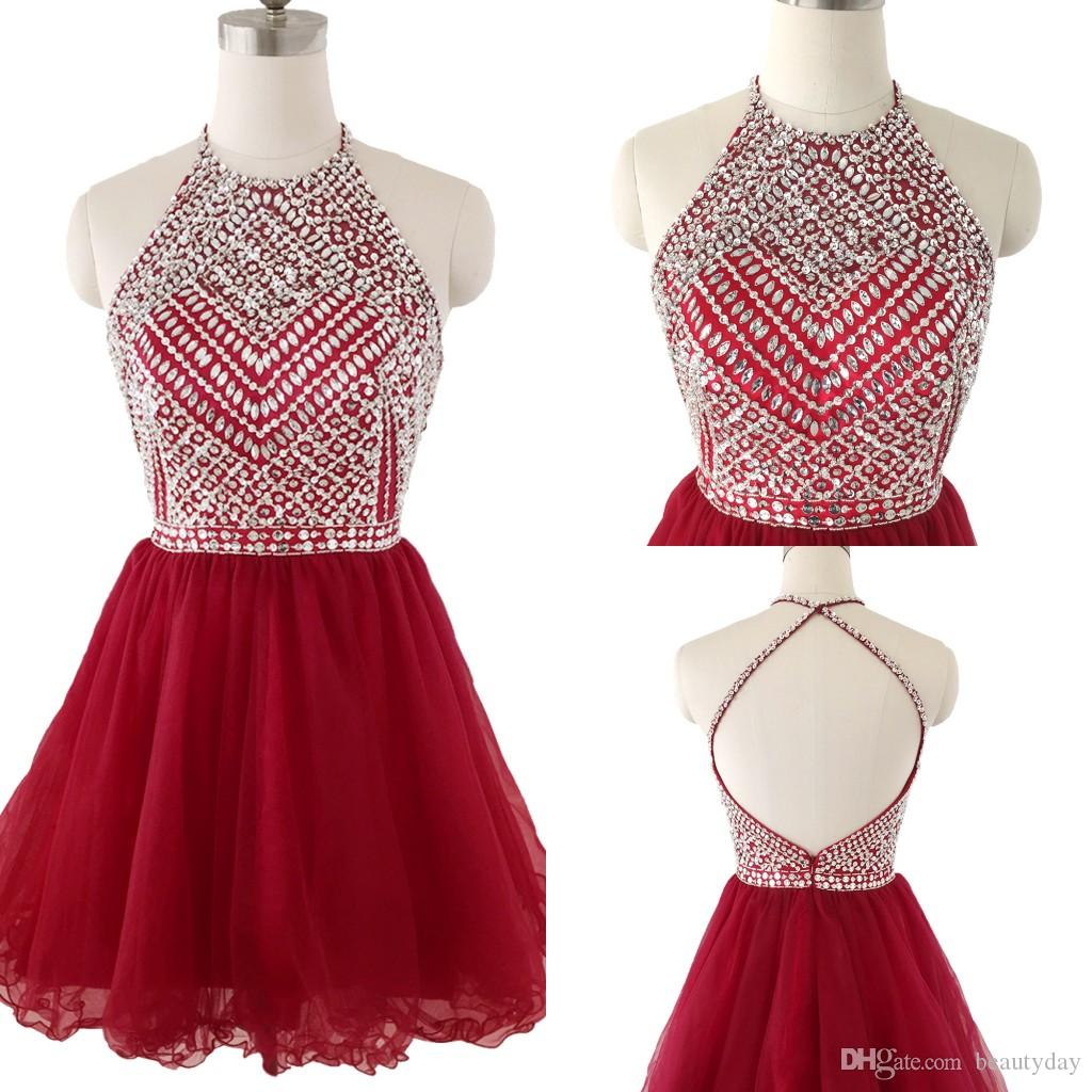 Short Homecoming Dresses Halter Sequins Beads Puffy Skirt Cocktail Party Dress Burgundy Tulle Mini Prom Gowns Graduation In Stock