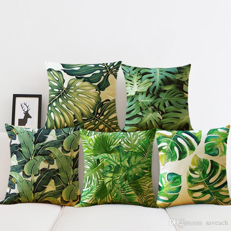Tropical Cactus Linen Cushions Cover Sofa Throw Pillow Case
