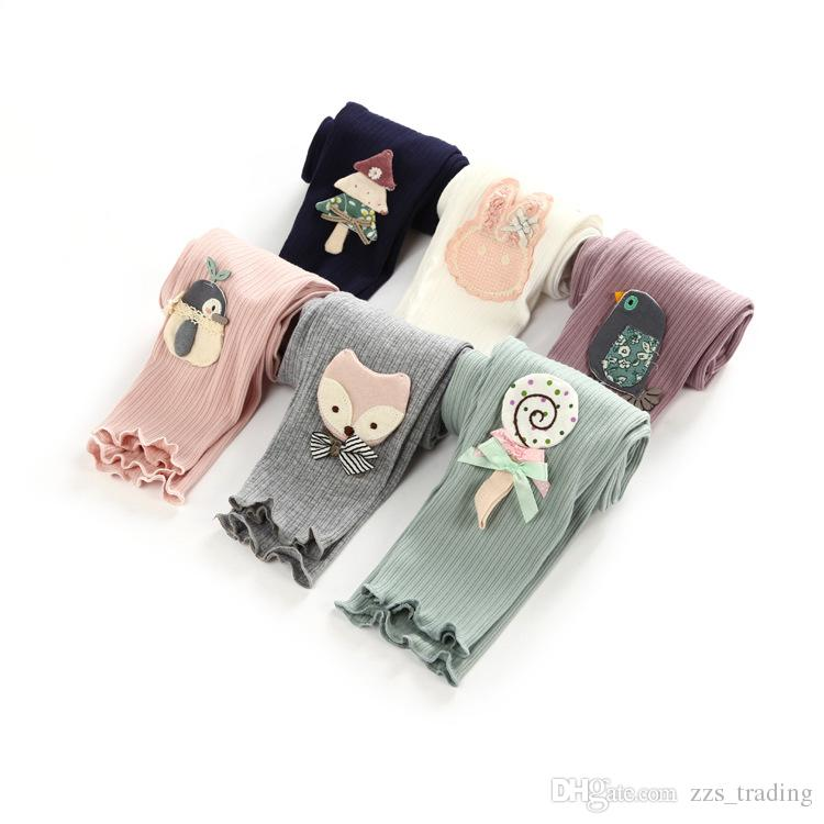 New Toddler Baby Girls Kids Skinny Pants Warm Leggings Girl Bird Tree Fox Rabbit Candy Penguin Pattern Stretchy Pants Trousers Hot