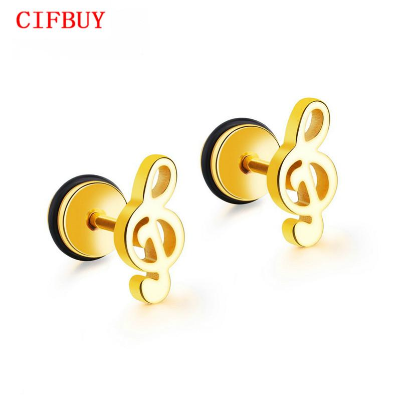 CIFBUY note de musique Boucles d'oreilles pour les femmes à la mode style Or / Noir / Argent Couleur Femme Mesdames Party Daily Bijoux GE418
