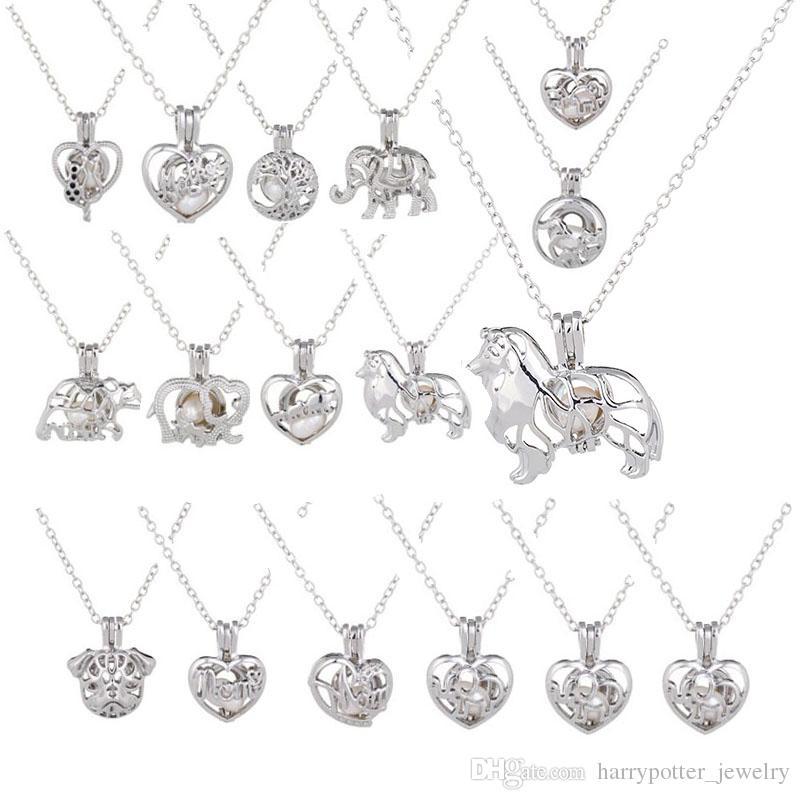 Collana pendente della gabbia Love Desideri perla naturale d'acqua dolce con perla di ostrica perla catenaccia catena hip hop bling catene gioielli