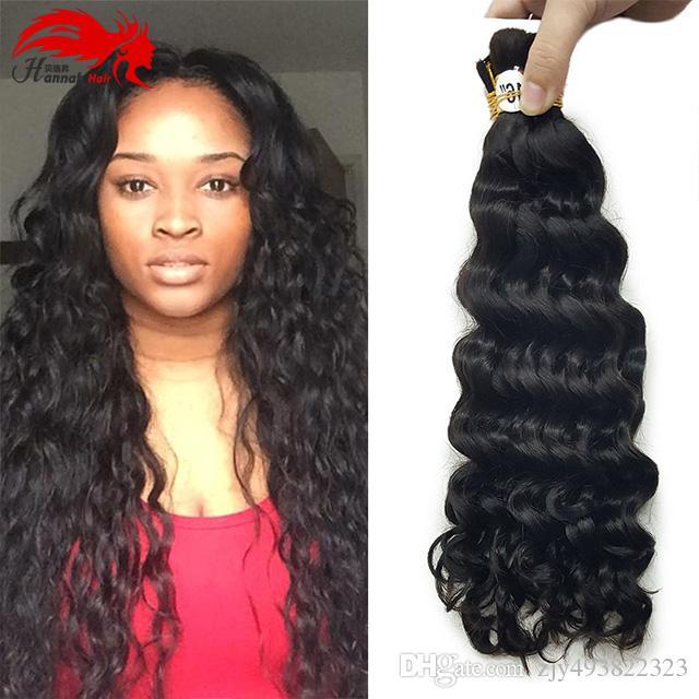 الجزء الأكبر من الشعر البشري للتجديل Hannah HAIR Micro Braiding Super Bulk Style 1 Pack (3 حزم أو 4 حزم) أسود عميق