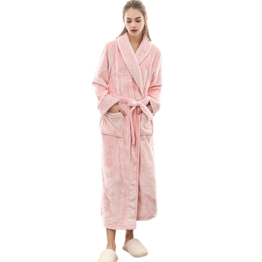 Women's Winter soft thermal Flannel Lengthened Coralline Plush Shawl Bathrobe Long Sleeved Robe Coat Bathrobe #1102 A#733